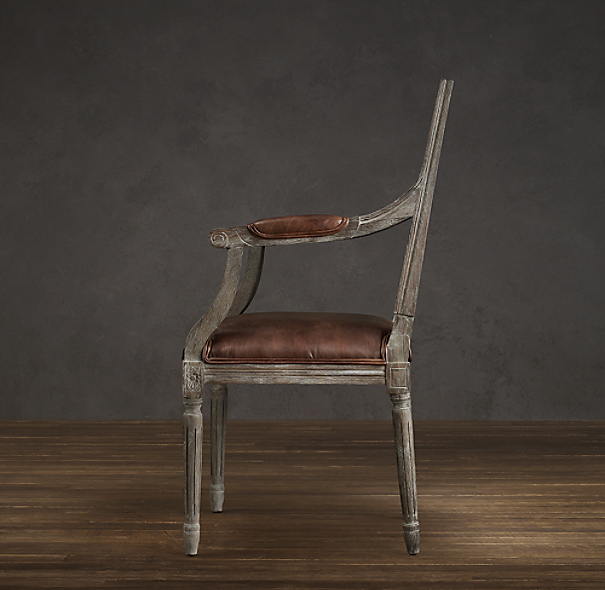 Vintage French Cane Back Square Leather Armchair