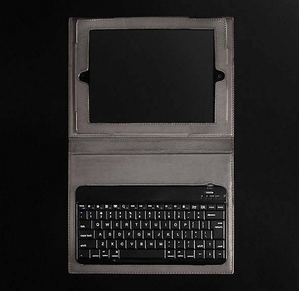 Artisan Leather iPad® Cover with Bluetooth® Keyboard - Slate
