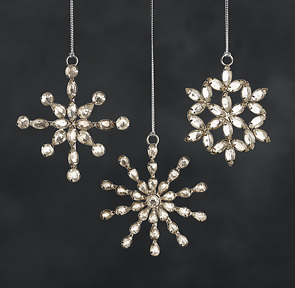 Victorian Glass Mini Snowflakes - (Set of 3)