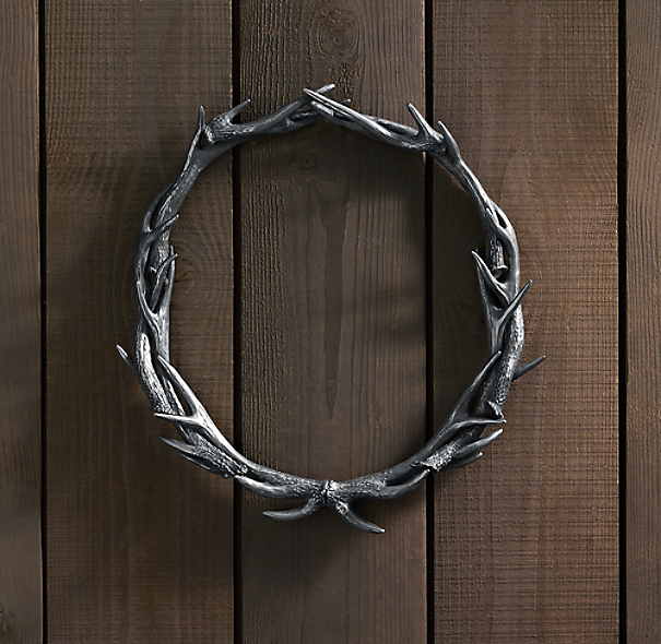 Weathered Antler Wreath Aluminum 24""