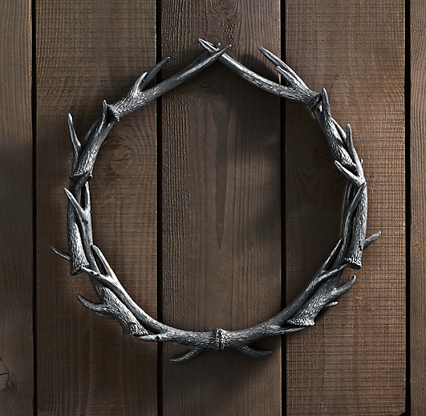 "Weathered Antler Wreath 30"" - Aluminum"