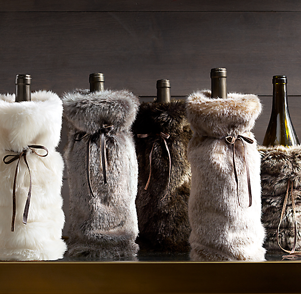 Luxe Faux Fur Wine Bag