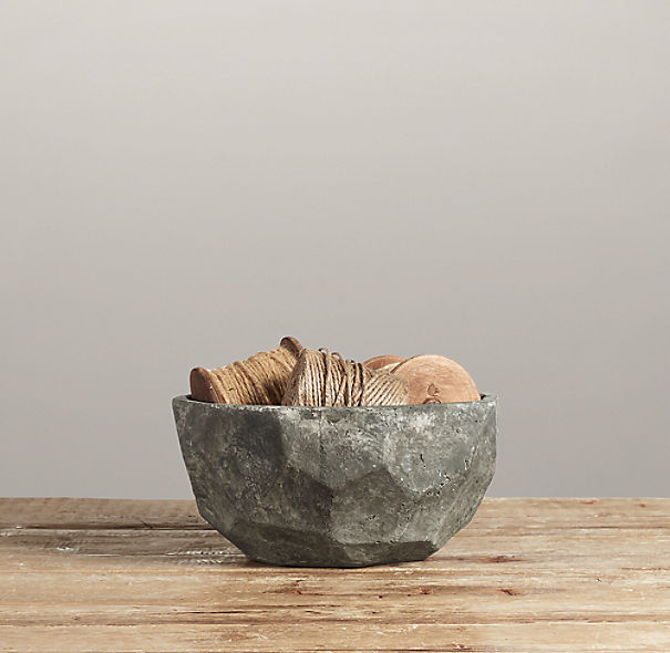 Sculptural Stone Vessel Faceted Bowl Small