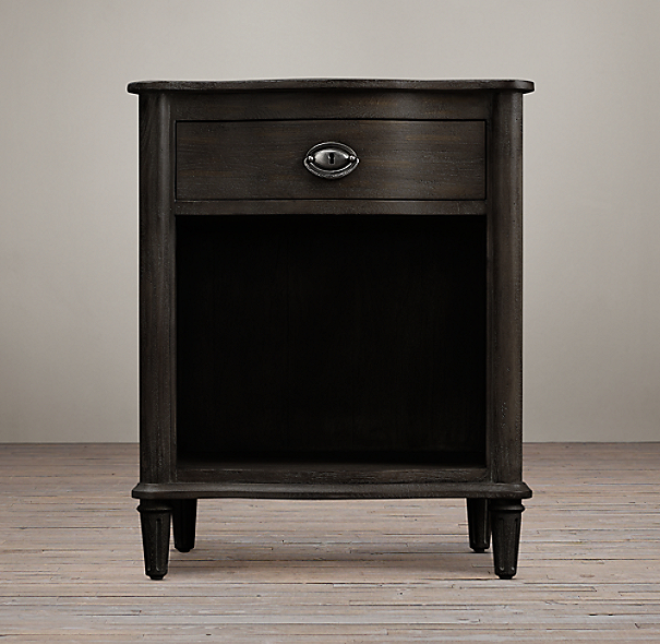 "24"" Empire Rosette Nightstand (Set of 2 Open) Antiqued Ebony"