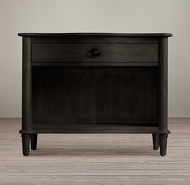 "38"" Empire Rosette Nightstand (Set of 2 Open) Antiqued Ebony"