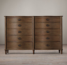 Empire Rosette 10-Drawer Dresser Antiqued Coffee