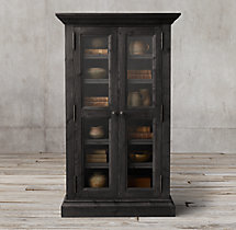 Salvaged Wood Glass Door Cabinet Salvaged Black