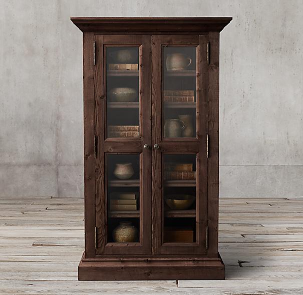 Salvaged Wood Glass Double-Door Cabinet