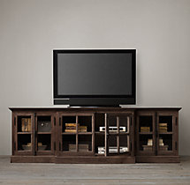 French Casement Media Console Glass Doors