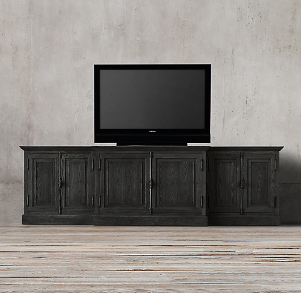 French Casement Media Console Solid Doors