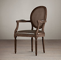 Vintage French Cane Back Round Leather Armchair