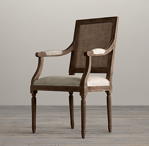 Vintage French Cane Back Square Upholstered Armchair