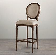 Vintage French Round Upholstered Barstool
