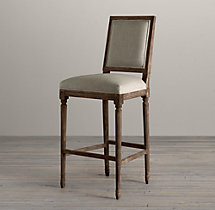 Vintage French Square Upholstered Barstool