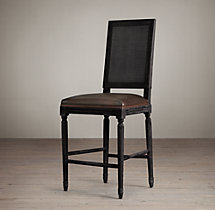 Vintage French Cane Back Square Leather Counter Stool