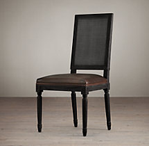 Vintage French Cane Back Square Leather Side Chair