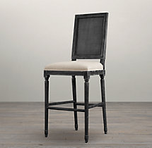 Vintage French Cane Back Square Upholstered Barstool