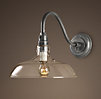 Vintage Barn Glass Sconce Distressed Aluminum