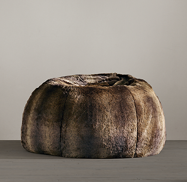 Grand Luxe Faux Fur Bean Bag - Sable