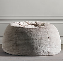 Grand Luxe Faux Fur Double Bean Bag - Lynx