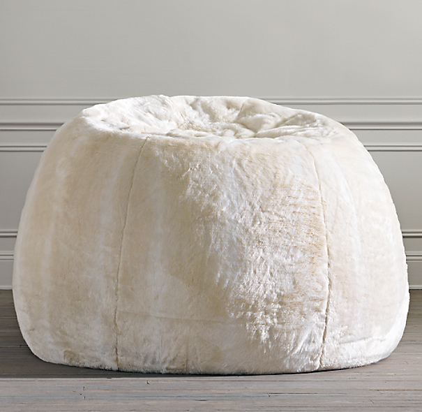 Grand Luxe Faux Fur Double Bean Bag - Arctic Fox