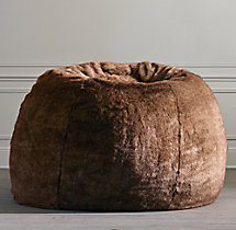 Grand Luxe Faux Fur Double Bean Bag - Coyote