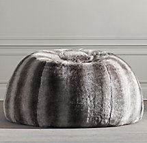 Grand Luxe Faux Fur Double Bean Bag - Chinchilla