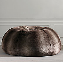 Grand Luxe Faux Fur Double Bean Bag - Mink