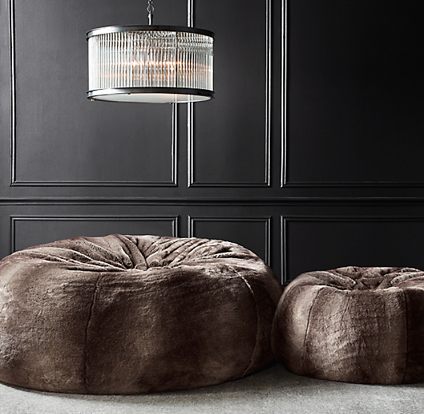 Grand Luxe Faux Fur Double Bean Bag - Sable