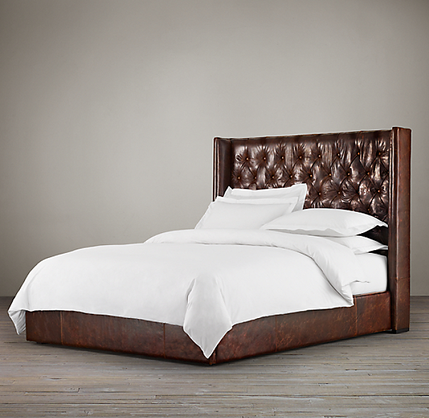 "56"" Adler Tufted Platform Bed Leather"