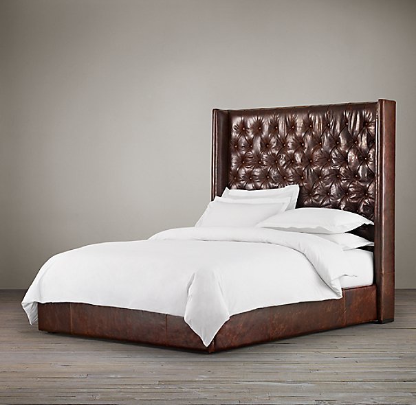 "68"" Adler Tufted Platform Bed Leather"