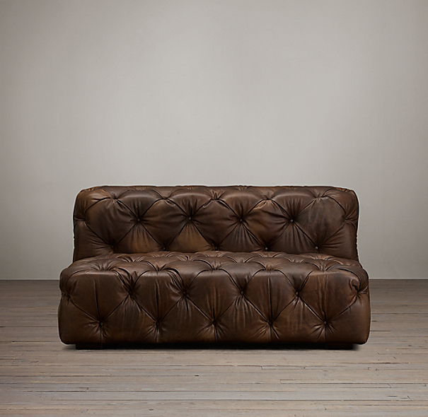 6' Soho Tufted Leather Armless Sofa