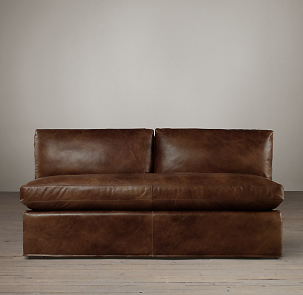 Belgian Slope Arm Leather Armless Sofa