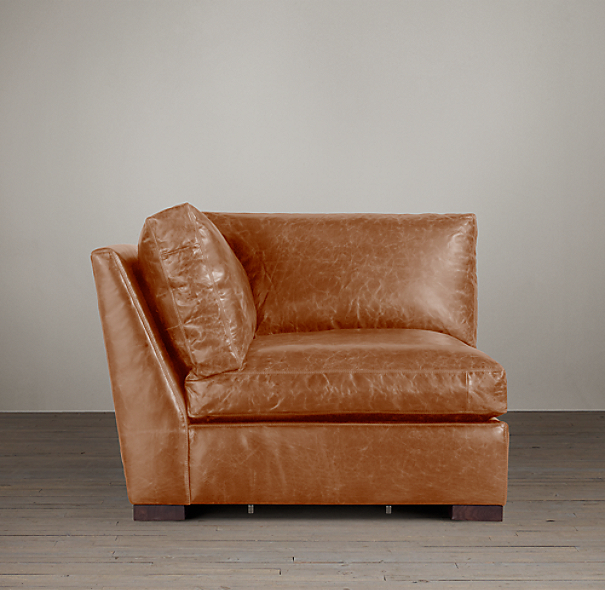 Belgian Slope Arm Leather Corner Chair