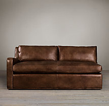 Belgian Slope Arm Leather Left-Arm Sofa