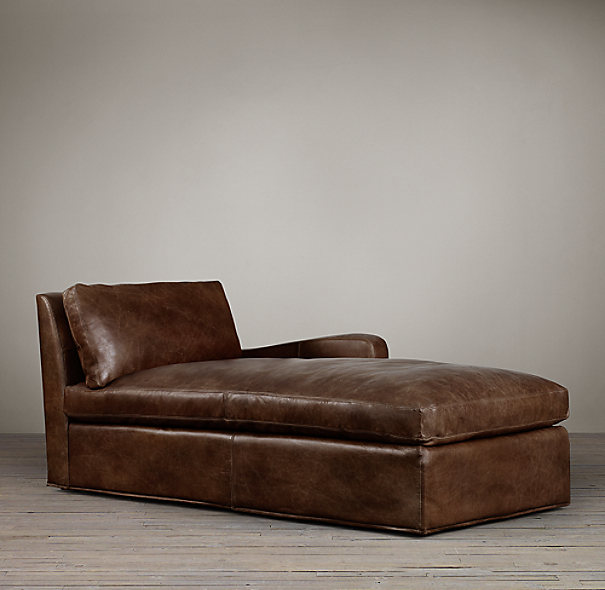 Belgian Slope Arm Leather Right-Arm Chaise