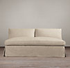 Belgian Slope Arm Slipcovered Armless Sofa