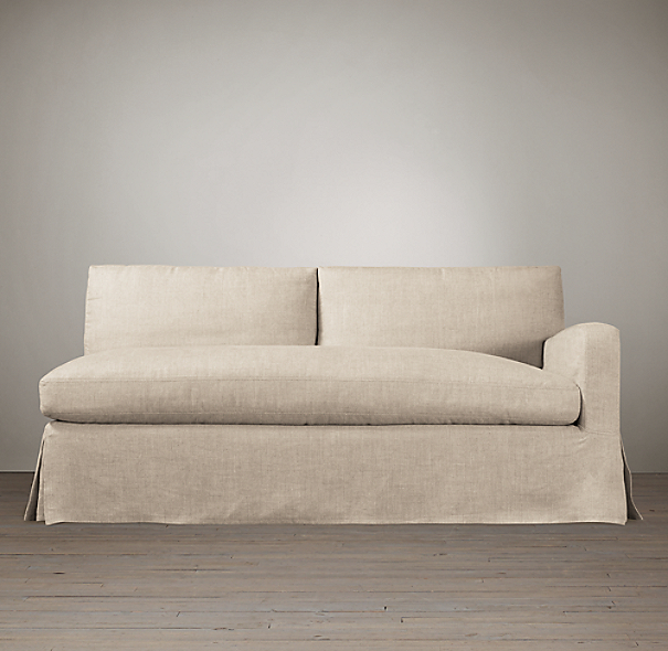 Belgian Slope Arm Slipcovered Right-Arm Sofa
