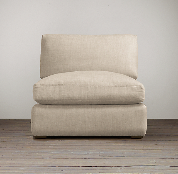 Belgian Slope Arm Upholstered Armless Chair