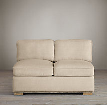 Collins Upholstered Armless Sofa With Nailheads