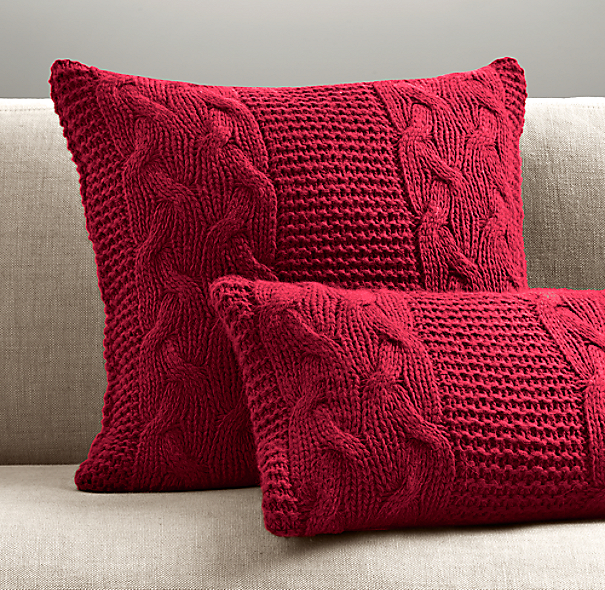 Italian Wool & Alpaca Cable Knit Lumbar Pillow Cover - Garnet