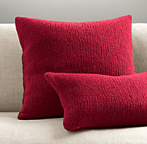 Italian Wool & Alpaca Ribbed Knit Pillow Cover - Garnet