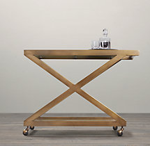 1950s Milo Bar Cart - Antiqued Brass