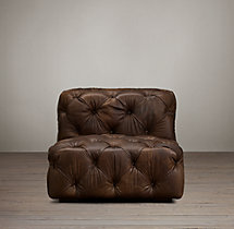 Soho Tufted Leather Armless Chair