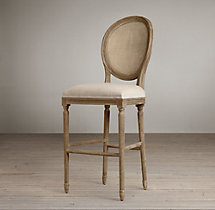 Vintage French Cane Back Round Upholstered Barstool