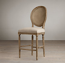 Vintage French Cane Back Round Upholstered Counter Stool