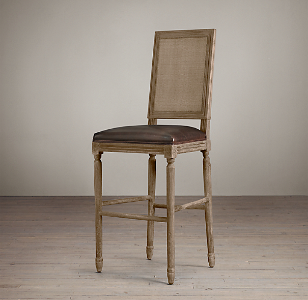 Vintage French Cane Back Square Leather Barstool