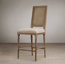 Vintage French Cane Back Square Upholstered Counter Stool