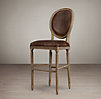 Vintage French Round Leather Barstool