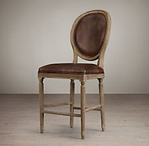 Vintage French Round Leather Counter Stool